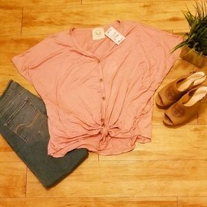 Button Down Tie Waist Top